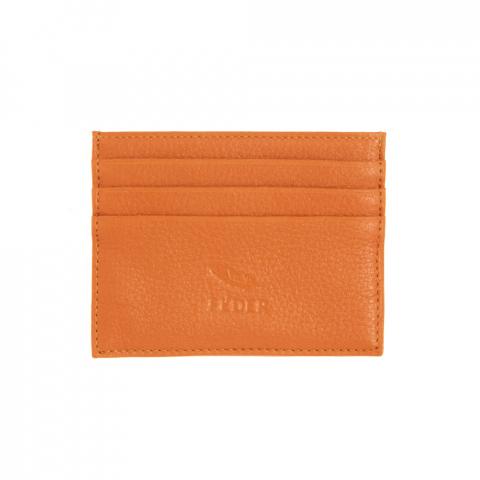 Porta Cartão de couro laranja - Feder Global